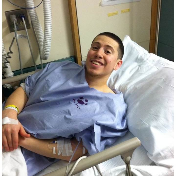 testicular cancer patient in a hospital bed