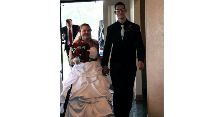 Testicular cancer survivor Cody Gilbert at his wedding