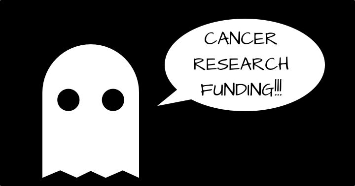 A ghost saying cancer research funding is scary instead of boo