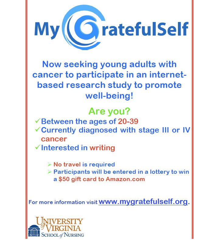 Flyer for My Grateful Self Research Study