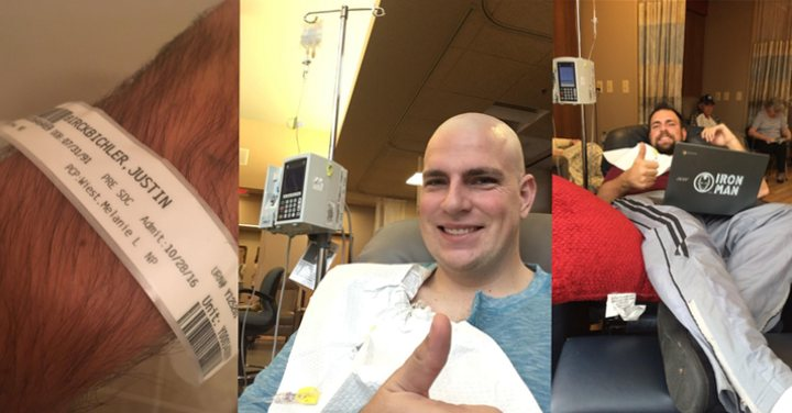 Photo collage of testicular cancer survivor Justin Birckbichler during chemotherapy for testicular cancer